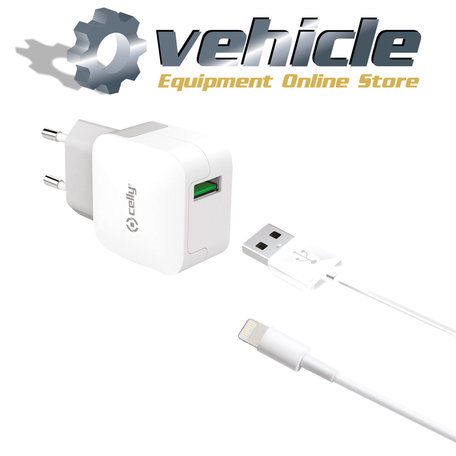 Celly Telefoonlader 2.4A USB Lightning Apple Turbo